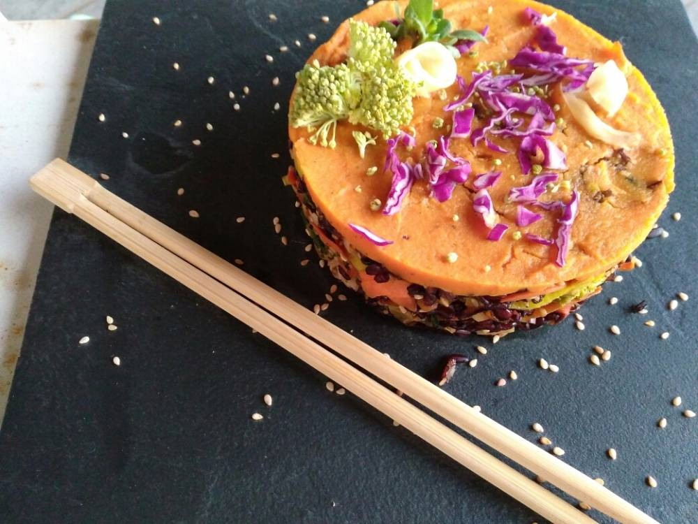 tortino di sushi vegan